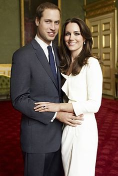Prince William and Kate Middleton, wearing what had been Princess Diana's engagement ring