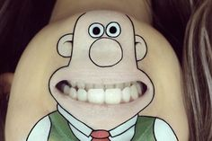 London-based hair and makeup artist Laura Jenkinson is using her Instagram to show off another kind of skill.  She's having fun turning the bottom portion of her face into cartoons of some of our favorite characters from film and TV, along with a few other well-known icons. These are just a few of our favorite posts of hers, so be sure to check out  her account and give her a follow!   Above: Wallace, Wallace and Gromit