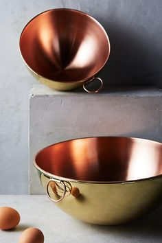 Slide View: 3: Copper & Brass Mixing Bowl