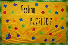 bulletin board... use puzzle pieces to put study tips on them. Or if youre a freshman RA take questions and post them and answers on the pieces. - Idea: Make unique pairs of interlocking pieces to turn into a trivia matching game that becomes a passive/active program.
