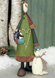 Snowman Holding Penguin with Junior Snowman Figurine $50.00