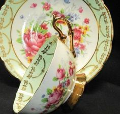 Regency England Pink Roses Cool Lime Green