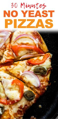No Yeast Pizza that doesnt need yeast and can be made on the stovetop so you dont need to heat up the oven. Thin crust pizzas with your favourite toppings and melty cheese ready in 30 minutes - faster than pizza delivery. Copycat Recipes, Pizza Recipes, Healthy Dinner Recipes, Soup Recipes, Breakfast Recipes, Vegetarian Recipes, Snack Recipes, No Yeast Pizza Dough, Pizza