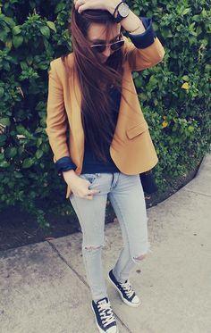 Zara Mustard Blazer, American Eagle Diy Ripped Jeans, Converse Black Sneakers