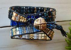 BLACKENED BLUES Triple TILA Wrap Leather by BraceletsofBlueRidge