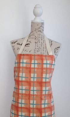 Cotton Apron For Women Peach Cream Green by AwfyBrawJewellery