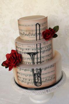 trombone music grooms cake :P Music Wedding Cakes, Music Themed Cakes, Music Cakes, Themed Wedding Cakes, Pretty Cakes, Beautiful Cakes, Amazing Cakes, Fondant Cakes, Cupcake Cakes