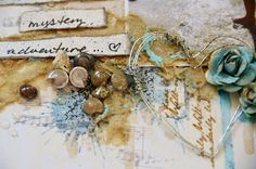 Wire heart, sand mixed with gel medium, shells  and paint drips make a great background on this layout called Summer's End by Miae