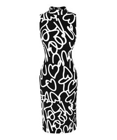 Black & White Abstract Collar Sleeveless Dress #zulily #zulilyfinds