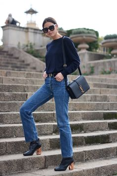 A classic way to style jeans