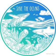 'Save the Oceans!' Art Print by Hannah Diaz Save Planet Earth, Save Our Earth, Our Planet, Save The Planet, Ukelele Painted, Ocean Illustration, Save The Sea Turtles, Save Our Oceans, 4 Oceans