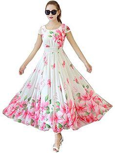 Angel-Sales-Fleur-Imprimer-Expansion-col-rond-manches-courtes-Maxi-Dress-Semi-Stitched