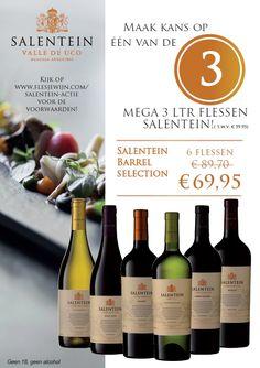 De Salentein eindejaars actie loopt weer! Koop 6 flessen Barrel selection en maak kans op een van de 3 mega flessen Salentein van 3 liter! http://www.flesjewijn.com/salentein-actie