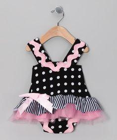Black Polka Dot Skirted Bodysuit -infant & toddler