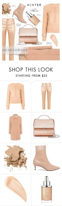 """Winter Monochrome Style"" by ames-ym ❤ liked on Polyvore featuring Chloé, Sies Marjan, Miu Miu, Givenchy, Bobbi Brown Cosmetics, Fendi, Kevyn Aucoin, Christian Dior, monochrome and contestentry"