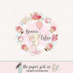bunny logo design bakery logo design cake logo by ThePaperGirlCo