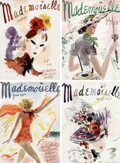 Mademoiselle magazine covers, Illustrations by Helen Jameson Hall. Vintage Love, Vintage Ads, Vintage Prints, Vintage Posters, Vintage Modern, Vintage Vibes, Vintage Advertisements, Vintage Decor, Mademoiselle Magazine