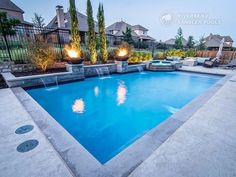 A Geometric pool design can be contemporary, classic or traditional. The sleek and straight lines of this timeless style pool gives the space a formal. Backyard Pool Landscaping, Backyard Pool Designs, Swimming Pools Backyard, Swimming Pool Designs, Lap Pools, Indoor Pools, Landscaping Ideas, Pool Spa, Backyard Ideas