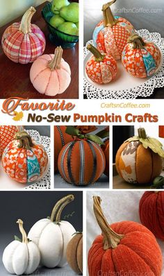 Favorite pumpkin crafts to DIY -- so easy and NO sewing! CraftsnCoffee.com.