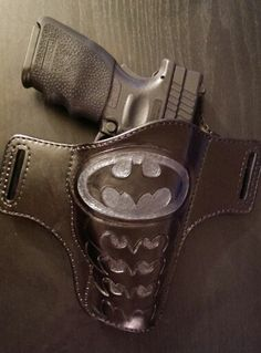 Batman holster  Custom, handmade for Springfield XD Tactical with Crimson Trace laser sight By Von Wade Leather
