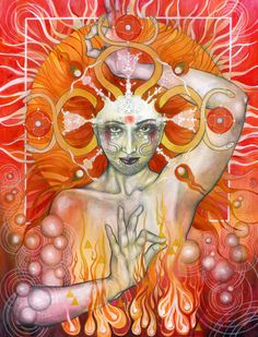 """Book of Shadows: """"Materia Fire,"""" by Patricia Ariel. Wiccan, Pagan, Magick, Ariel, Image Yoga, 4 Elements, Fire Element, Mystique, Visionary Art"""