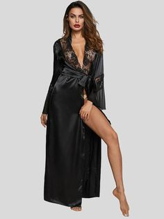 Harlow is a black floor length satin, sheer and lace robe. The gorgeous lace trimmed robe has a fitted waist and self belt closure with an elegant flair. The robe has a full sweep to the hem of the robe, offering even more luxury. Belle Lingerie, Satin Lingerie, Plus Size Lingerie, Sexy Lingerie, Satin Nightie, Kimono, Femmes Les Plus Sexy, Peignoir, Bodysuit