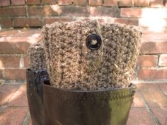 Free Crochet Boot Cuff Pattern | Boot Cuffs Brown Boot Toppers Boot Socks Buttons Winter Fall by ...