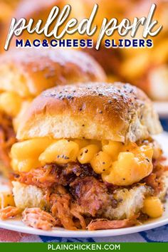 Pulled Pork Mac and Cheese Sliders recipe - CRAZY good! I took these to a party and they were gone in a blink of an eye!!! Slow-cooked pulled pork on Hawaiian rolls topped with macaroni and cheese, bbq sauce, and a sweet and savory butter sauce. These sandwiches are THE BEST!!!! Pulled pork, store-bought mac and cheese, Hawaiian rolls, bbq sauce, butter, brown sugar, dijon mustard, Worcestershire sauce, and poppy seeds. YUM! #sliders #gameday #pulledpork Slider Recipes, Pork Recipes, Cooking Recipes, Easy Recipes, Oven Recipes, Vegetarian Cooking, Easy Cooking, Dinner Recipes, Sausage Recipes