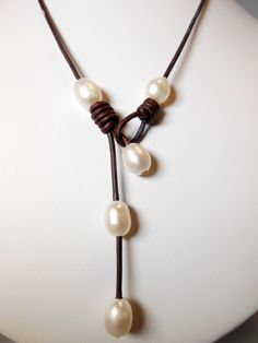 Leather and Pearl Necklace by FashionabLeeMade on Etsy