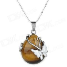 Color: Yellow Brown + White; Brand: N/A; Model: HDHY1; Quantity: 1 Piece; Gender: Women; Suitable for: Adults; Chain Material: Silver plating; Pendant Material: Silver plating + tiger-eye; Chain Length: 40 cm; Chain Width: 0.1 cm; Packing List: 1 x Necklace; http://j.mp/1AuaGrS