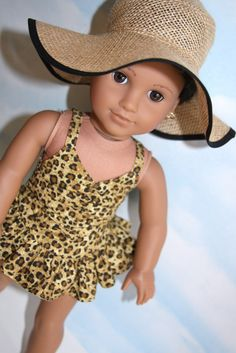 18 Doll / American Girl Cheetah Print Bathing Suit by SewLikeBetty