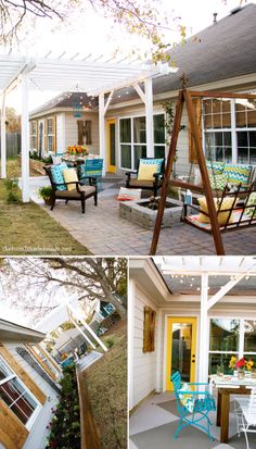 Backyard - porch & patio pergola fun back door color painted concrete