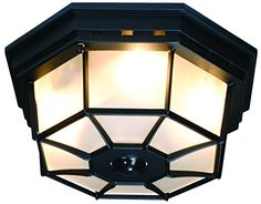 Heath Zenith HZ-4300-BK-B 360-Degree Motion-Activated Octagonal Ceiling Light, Black - Heath Zenith HZ-4300-BK-B 360-Degree Motion-Activated Octagonal Ceiling Light, Black. The SL-4300-BK decorative ceiling light provides 360-degree motion detection up to 30 feet. Uses (4) candelabra base incandescent bulbs (25 watts max each - not included). Features include DualBrite two-level li...