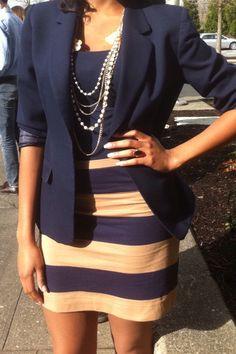 blazer and striped skirt. Love!