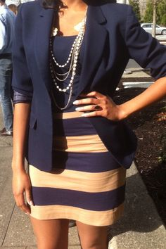 blazer and striped skirt. Love!