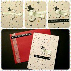 Weihnachtskarte Schneemann & bunte Sterne
