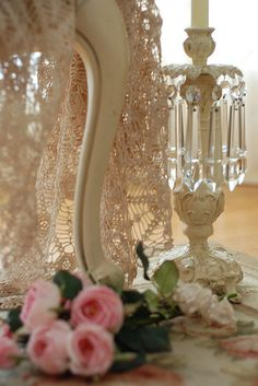 #Shabby #Chic #Décor - make your house a home - all in cream lace and crystals... http://www.myshabbychicstore.com