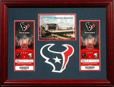 "Bradley's custom framed-Texans Football Tickets. ""Like"" Bradley's on Facebook! https://www.facebook.com/bradleysartandframe?ref=hl"