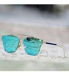 Sunglasses blue color trendy style golden frame for men
