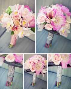 Bridesmaids bouquets...love the colors of the flowers