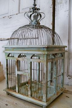 Blue sea foam bird cage distressed rusty by AnitaSperoDesign, $162.00