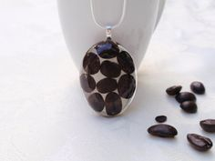 Coffee Bean Resin Necklace  Pressed Flower by SmileWithFlower