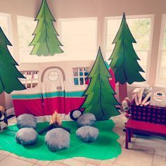 Pretend Campfire at this Lumberjack Birthday Bash - adorably party theme idea for your little man!