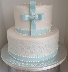 First Communion , blue, white and pearl By BBSpecialtyCakes on CakeCentral.com