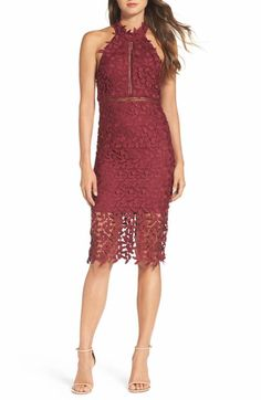 oxblood lace halter wedding guest dress