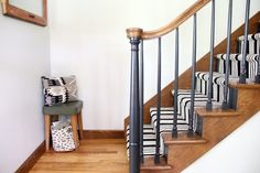 Our Black Painted Staircase Staircase with Painted Spindles Staircase Spindles, Oak Banister, Black Staircase, Wood Handrail, Painted Staircases, Oak Stairs, Staircase Makeover, House Stairs, Staircase Design