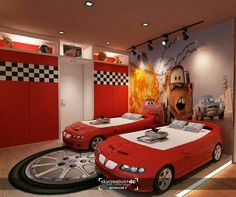 Kids' bedroom ideas: go big, or go home we say. Decorating a kids' room doesn't mean you have to scrimp on style. Boy Car Room, Boys Car Bedroom, Race Car Room, Car Themed Bedrooms, Boys Bedroom Decor, Kids Bedroom Designs, Home Room Design, Disney Cars Room, Kids Car Bed
