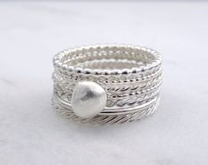 Silver stacking rings - Wabi sabi stacking rings in sterling silver - Choose your rings - Handmade stackable silver rings by HopeADesign on Etsy