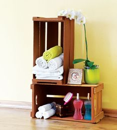 Cheap Diy Furniture Projects Reusing Wooden Crates Towel Storage
