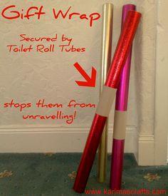toilet roll tubes used as gift wrap holders. Genius!